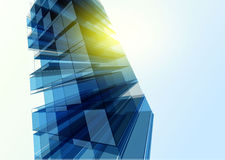 Modern blue glass wall of office building Royalty Free Stock Photography
