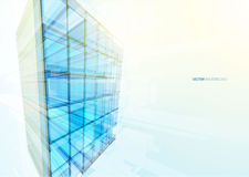 Modern blue glass wall of office building Stock Photo
