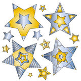 Modern blue and gold star collection. Over white background Stock Photo