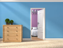 Modern blue hallway with open door. 3d illustration Royalty Free Stock Image