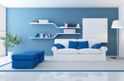 Modern blue interior Stock Images