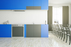 Modern blue kitchen interior. With equipment, dining area and city view. 3D Rendering Stock Photo