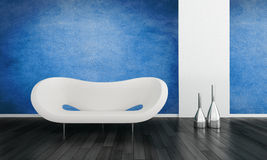 Modern blue living room interior. With a contemporary white modular settee and metallic vases on a black hardwood floor with white accents and a blue wall Stock Image