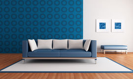 Modern blue lounge Royalty Free Stock Images