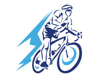 Modern Blue Motion Cyclist In Action Silhouette Logo. Passionate On Fire Cyclist In Action Royalty Free Stock Images