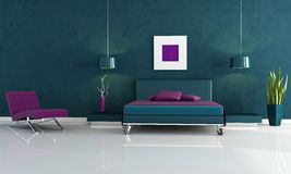 Modern blue and purple bedroom Stock Photos
