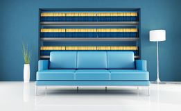 Modern blue reading room Royalty Free Stock Images