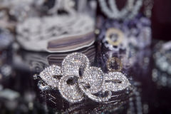 Modern blue rhinestone brooch Royalty Free Stock Image