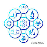 Modern blue science infographic buttons Stock Photo
