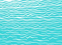Modern blue sea background with hand-drawn waves royalty free illustration