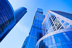 Modern blue skyscrapers towers Stock Photos