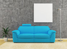 Modern blue sofa on dirty wall interior design Royalty Free Stock Photo