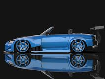 Modern blue sports convertible. Open car with tuning. 3d rendering. Modern blue sports convertible. Open car with tuning. 3d rendering Stock Image