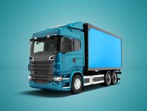 Modern blue truck with blue trailer to transport goods around th stock illustration