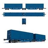 Modern blue twin container carriage. 3d render illustration isolated on white: Projections and perspective view of the modern blue twin container carriage Stock Photography