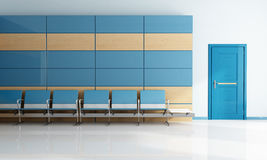 Modern blue waiting room Stock Photos