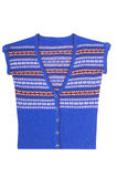 Modern blue warm waistcoat on a white. Royalty Free Stock Photography