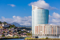 Modern Blue and White Hotel on Coast of Martinique Royalty Free Stock Photo