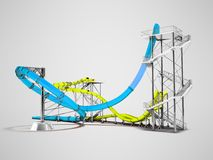 Modern blue yellow water slides amusement for the water park behind 3d rendering on gray background with shadow royalty free illustration