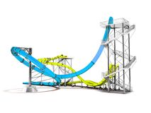 Modern blue yellow water slides amusement for the water park behind 3d rendering on a white background with shadow stock illustration