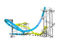 Modern blue yellow water slides amusement for the water park behind 3d rendering on white background no shadow vector illustration