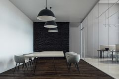 Modern boarding room with copyspace. Modern boarding room interior with copy space on concrete wall, wooden floor and equipment. Mock up, 3D Rendering Stock Photography