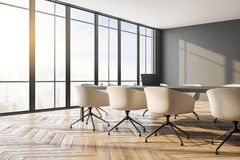 Modern boarding room. Interior with panoramic city view, furniture, laptop on desktop and daylight. Toned image. 3D Rendering stock illustration