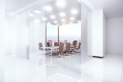 Modern boardroom. Modern bright boardroom with panoramic city view. 3D Rendering Stock Photo