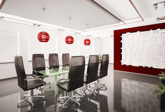 Modern boardroom interior 3d. Modern boardroom with glass table interior 3d Stock Images