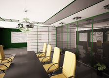 Modern boardroom interior 3d. Modern boardroom with yellow chairs interior 3d Royalty Free Stock Photo