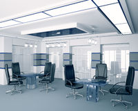 Modern boardroom interior 3d. Modern boardroom with glass tables interior 3d Stock Image