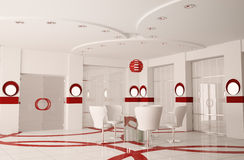 Modern boardroom interior 3d. Modern boardroom with round glass table interior 3d Stock Photos