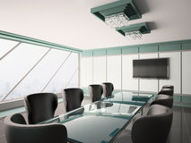 Modern boardroom interior 3d. Modern boardroom with lcd and glass table interior 3d Stock Image
