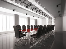 Modern boardroom interior 3d. Modern boardroom with red table interior 3d render Stock Photo
