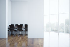 Modern boardroom. Interior with blank concrete wall and city view. Mock up, 3D Rendering Royalty Free Stock Photo