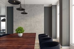 Modern boardroom. Interior with copy space on wall. 3D Rendering Stock Photography