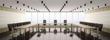 Modern boardroom interior panorama 3d. Render Royalty Free Stock Photo