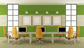 Modern boardroom. With large meeting table with laptop - 3d rendering Royalty Free Stock Images