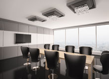Modern boardroom with lcd interior 3d Stock Photos