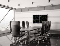 Modern boardroom with lcd interior 3d. Render Royalty Free Stock Photo