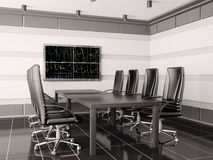 Modern boardroom with lcd interior 3d Royalty Free Stock Photography