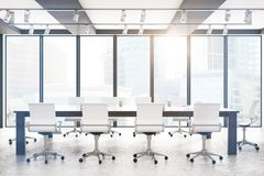 Modern boardroom. With city view and sunlight. 3D Rendering Stock Photo