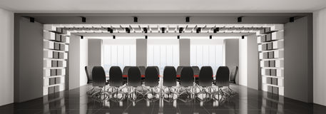Modern boardroom panorama 3d. Modern boardroom interior panorama 3d render Stock Images