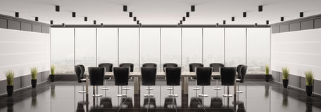 Modern boardroom panorama 3d render Stock Photos