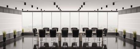 Modern boardroom panorama 3d render. Modern boardroom interior panorama 3d render