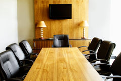 Modern Boardroom with Wooden Table Stock Image