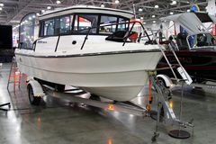 Modern boat Alaskan Ranger 580 HT in the exhibition Crocus Expo Royalty Free Stock Photography