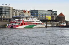 Tourist boat on Elbe river in Hamburg Stock Photography