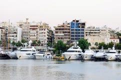 Modern boats in the marina. Marina of Greece in central city Piraeus Stock Photos