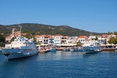 Skiathos Town, Aegean Greek Island, Boats Moored at Dock Royalty Free Stock Image